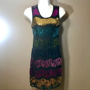 Say What? Multi-Colored Sequins Sleeveless Dress